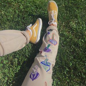 🍄 hand-drawn mushroom pants 🍄